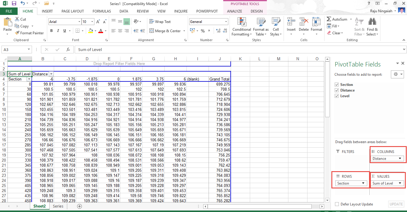 Exporting Cross Section Data in Tabular Format